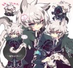 >_< 2boys :d animal_ear_fluff animal_ears arknights bangs black_cape black_gloves black_jacket blush cape chibi collared_shirt commentary_request crossed_bangs doctor_(arknights) eyebrows_visible_through_hair flying_sweatdrops fur-trimmed_cape fur_trim gloves hair_between_eyes holding holding_tail hood hooded_jacket hug hug_from_behind jacket leopard_ears leopard_tail long_sleeves looking_at_viewer male_focus multiple_boys necktie open_mouth peroppafu shirt sidelocks silverash_(arknights) smile spoken_expression standing tail translation_request white_background white_hair white_shirt