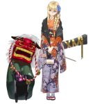 1girl alternate_costume bag blonde_hair blue_eyes braid braided_ponytail commentary_request dinergate_(girls_frontline) eyebrows_visible_through_hair floral_print flower girls_frontline gun_case hair_flower hair_ornament handbag human_tower japanese_clothes kimono lion_dance looking_at_viewer looking_down mg3_(girls_frontline) multicolored multicolored_clothes multicolored_kimono new_year obi official_art orange_kimono purple_kimono sandals sash scarf shishimai single_braid smile socks solo stacking touko_(kira2yue) transparent_background