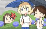 3girls alternate_costume amagi_(kantai_collection) bangs black_umbrella blonde_hair blue_eyes blue_pants blue_umbrella brown_eyes brown_hair bush closed_eyes colorado_(kantai_collection) commentary_request dated flower garrison_cap grey_headwear hair_flower hair_ornament hamu_koutarou hat headgear hiding highres kantai_collection leaf leaf_hair_ornament long_hair low_twintails maple_leaf mole mole_under_eye multiple_girls outdoors pants parted_bangs pointing rain shirayuki_(kantai_collection) shirt short_hair short_twintails side_braids sidelocks standing t-shirt track_pants twintails umbrella white_shirt