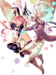 2boys arjuna_alter astolfo_(fate) astolfo_(saber)_(fate) bangs black_bow black_dress black_gloves black_neckwear black_ribbon blue_horns bow bowtie bracer bunny_pose chest chest_jewel dark_skin dark_skinned_male dress fang fate/grand_order fate_(series) gloves grey_eyes hair_bow hair_intakes hands_up highres horns indian_clothes layered_skirt long_hair looking_at_viewer low_twintails multicolored_hair multiple_boys navel one_eye_closed open_mouth otoko_no_ko pink_hair ribbon sakuramochi1003 shirtless silver_hair skin_fang skirt smile streaked_hair tail twintails violet_eyes white_gloves white_hair white_skirt wing_collar