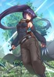 1girl adsouto akatsuki_(log_horizon) assassin bare_shoulders blue_hair blush building commentary detached_sleeves english_commentary grass highres holding holding_weapon log_horizon long_hair ponytail solo sword tree very_long_hair weapon