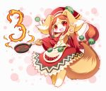 1girl 3 :3 :d animal_ears bare_shoulders blush breasts brown_fur brown_hair chantico_(fullbokko_heroes) commentary_request detached_sleeves digitigrade dog dog_ears dog_girl dog_tail eyebrows_visible_through_hair fire full_body fullbokko_heroes furry headwear holding_frying_pan long_hair looking_at_viewer medium_breasts neru_(neruneruru) number open_mouth pawpads red_eyes simple_background smile solo standing tail two-tone_fur white_background white_fur