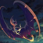 black_cloud chorefuji closed_mouth clouds gen_7_pokemon legendary_pokemon light_smile looking_to_the_side lunala night no_humans pink_sclera pokemon pokemon_(creature) sky solo star_(sky) white_eyes