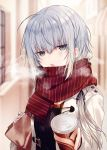 1girl :o ahoge bag bangs black_sweater blurry blurry_background blush breath can depth_of_field eyebrows_visible_through_hair eyes_visible_through_hair grey_eyes hair_between_eyes haiselita_aldridge holding holding_bag holding_can jacket kazutake_hazano long_hair long_sleeves looking_at_viewer outdoors paper_bag plaid plaid_scarf red_scarf scarf shiro_seijo_to_kuro_bokushi silver_hair sleeves_past_wrists solo steam striped striped_sweater sweater upper_body white_jacket