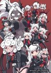 6+girls all_fours animal_ears arm_under_breasts azazel_(helltaker) bangs bare_arms beelzebub_(helltaker) big_hair black_hair black_horns black_miniskirt black_suit black_tail blue_eyes blunt_bangs blush boots bow bowtie breasts cerberus_(helltaker) choker cigarette closed_mouth colonel_aki crossed_arms dark_skin demon_girl demon_horns demon_tail dog_ears dog_girl eyebrows_visible_through_hair fang fang_out fingerless_gloves formal glasses gloves hair_over_one_eye halo heart heart-shaped_pupils helltaker holding holding_cigarette horns jacket jacket_on_shoulders judgement_(helltaker) justice_(helltaker) kneeling long_hair long_sleeves looking_at_viewer lucifer_(helltaker) malina_(helltaker) modeus_(helltaker) mouth_piercing multicolored_hair multiple_girls nose_blush open_clothes open_jacket open_mouth pandemonica_(helltaker) pant_suit pants pencil_skirt piercing red_eyes red_shirt redhead ringed_eyes shirt short_hair short_sleeves sidelocks skirt smoke smoking stomach suit suit_jacket sunglasses sweater symbol-shaped_pupils tail triplets two-tone_hair vest watermark wavy_mouth web_address white_eyes white_hair white_horns wide-eyed zdrada_(helltaker)