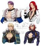 4boys adapted_costume blonde_hair body_armor cape cleavage_cutout closed_eyes fate/grand_order fate_(series) fur_trim gawain_(fate/extra) gloves highres lancelot_(fate/grand_order) male_focus multicolored_hair multiple_boys odysseus_(fate/grand_order) partly_fingerless_gloves purple_hair redhead scar silver_hair simple_background standplay streaked_hair tristan_(fate/grand_order) v white_background white_gloves