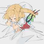1girl back_bow blonde_hair bow closed_eyes commentary_request crystal flandre_scarlet gotoh510 hands_up lying no_hat no_headwear on_side pillow red_vest shirt side_ponytail sleeping solo stuffed_animal stuffed_toy touhou under_covers upper_body vest white_background white_shirt wings wrist_cuffs
