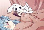 2girls 500_dollar_four_foot_tall_mareep bed blanket blue_hair blush_stickers brown_hair bunnie couple highres implied_yuri indoors joypendant kos-mos meme multiple_girls object_hug red_eyes shion_uzuki signature sleeping stuffed_toy under_covers xenosaga yuri
