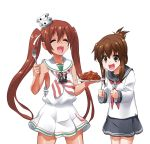 2girls anchor_symbol black_skirt brown_eyes brown_hair byeontae_jagga closed_eyes collarbone cowboy_shot dress eyebrows_visible_through_hair fang folded_ponytail food fork holding holding_fork holding_plate inazuma_(kantai_collection) kantai_collection libeccio_(kantai_collection) long_sleeves meatball multiple_girls neckerchief open_mouth pasta plate red_neckwear sailor_dress school_uniform serafuku shirt sidelocks simple_background skirt sleeveless sleeveless_dress smile spaghetti spaghetti_and_meatballs striped striped_neckwear twintails white_background white_shirt