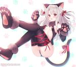 1girl animal_ear_fluff animal_ears ass bangs bare_shoulders bell black_gloves black_legwear black_sleeves blush breasts cat_ears cat_tail center_opening commentary_request detached_sleeves eyebrows_visible_through_hair fake_animal_ears fate/grand_order fate_(series) full_body fur-trimmed_gloves fur_collar fur_trim gloves hair_bell hair_between_eyes hair_ornament hair_ribbon illyasviel_von_einzbern jingle_bell long_hair looking_at_viewer open_mouth paw_gloves paw_shoes paws red_eyes red_ribbon ribbon shoes sidelocks small_breasts solo suzuho_hotaru tail tail_ribbon thigh-highs twitter_username