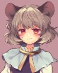 1girl animal_ears black_vest blush cape commentary_request grey_hair long_sleeves looking_at_viewer mouse_ears nazrin pink_background red_eyes shirt short_hair solo sweatdrop tomobe_kinuko touhou upper_body vest wavy_mouth white_shirt