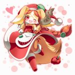 1girl :3 :d alternate_costume animal_ears bag bare_shoulders blush boots breasts brown_fur brown_hair chantico_(fullbokko_heroes) christmas collarbone commentary_request detached_sleeves dog dog_ears dog_girl dog_tail fish full_body fullbokko_heroes fur-trimmed_sleeves fur_trim furry grilled_fish hair_ornament happy hat headwear heart holding holding_bag holding_stick leg_up long_hair looking_at_viewer medium_breasts neru_(neruneruru) one_eye_closed open_mouth red_eyes red_pepper red_sleeves santa_boots santa_hat sideboob simple_background smile solo stick tail two-tone_fur white_bag white_fur x_hair_ornament