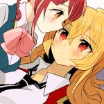 2girls blonde_hair blush collared_shirt couple eye_contact jacket long_hair looking_at_another miyuara multiple_girls neck_ribbon nervous open_mouth pink_eyes pink_hair pink_ribbon ribbon shikishima_mirei shirt short_hair short_twintails simple_background tokonome_mamori twintails valkyrie_drive valkyrie_drive_-mermaid- very_long_hair white_background yellow_eyes yuri