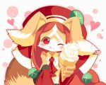 1girl animal_ears bare_shoulders blush breasts brown_fur brown_hair chantico_(fullbokko_heroes) commentary_request detached_sleeves dog dog_ears dog_girl dog_tail eating eyebrows_visible_through_hair food food_on_face fullbokko_heroes furry headwear heart holding holding_food ice_cream ice_cream_cone licking_lips long_hair looking_at_viewer medium_breasts neru_(neruneruru) one_eye_closed red_eyes red_sleeves simple_background solo tail tongue tongue_out two-tone_fur upper_body white_background white_fur