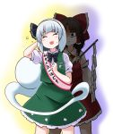 2girls arm_up bangs black_eyes black_hairband black_ribbon blush brown_hair closed_eyes commentary detached_sleeves gohei green_skirt green_vest hair_ribbon hair_tubes hairband hakurei_reimu hand_behind_head hand_up holding konpaku_youmu konpaku_youmu_(ghost) kousei_(public_planet) legs_apart multiple_girls neck_ribbon parted_bangs red_ribbon ribbon shirt short_hair short_sleeves silver_hair skirt smile standing touhou translated vest white_background white_shirt yellow_background