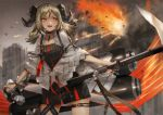 1girl arknights black_dress blonde_hair choker cowboy_shot dress elite_ii_(arknights) fire flamethrower gas_tank horns ifrit_(arknights) nail_polish open_mouth orange_eyes ore_lesion_(arknights) short_hair smile solo standing striped striped_dress thigh_strap toka_(marchlizard) twintails vertical-striped_dress vertical_stripes weapon