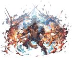 1boy abs bara black_hair blue_fire chest dark_skin dark_skinned_male draph earrings eyepatch fighting_stance fire full_body gloves granblue_fantasy horns jewelry long_hair looking_at_viewer male_focus manly muscle navel official_art one_eye_covered pants pointy_ears reinhardtzar revealing_clothes shiny shiny_hair shoes smile solo white_background
