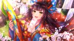 1girl black_hair bow cherry_blossoms fan fate/grand_order fate_(series) hair_bow hair_ornament hairclip highres japanese_clothes kimono layered_clothing layered_kimono long_hair minazuki_utciha multiple_hair_bows paper sei_shounagon_(fate) smile yellow_eyes