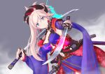 1girl absurdres blue_eyes blush earrings fate/grand_order fate_(series) hair_ornament highres holding holding_sword holding_weapon japanese_clothes jewelry katana kimono kimono_skirt layered_clothing layered_kimono miyamoto_musashi_(fate/grand_order) obi pink_hair pipin_try sash short_kimono simple_background smile solo sword weapon wide_sleeves