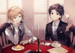 2boys arm_support black_jacket black_neckwear blonde_hair blue_ribbon book cake candle candlestand card chair character_request commentary_request cup food fork gem hair_ribbon holding holding_fork jacket kazutake_hazano letter long_sleeves looking_at_viewer male_focus medium_hair multiple_boys parted_lips red_eyes ribbon shiro_seijo_to_kuro_bokushi shirt short_hair short_ponytail side_ponytail sitting smile sweater_vest table teacup vest white_neckwear white_shirt