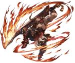 1boy abs agielba animal_ears armor armored_boots bara beard boots chest draph facial_hair fighting_stance fire full_body gloves granblue_fantasy holding holding_weapon horns looking_up male_focus manly minaba_hideo muscle official_art open_clothes oversized_object pants pectorals revealing_clothes shirtless shoulder_armor simple_background smile solo spaulders sword tattoo weapon white_background