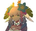 1girl backlighting bk-love flower green_eyes hair_flower hair_ornament head_wings leaf_hair_ornament looking_at_viewer makna_armour melia silver_hair solo upper_body white_background xenoblade_(series) xenoblade_1