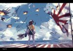1girl absurdres aircraft airplane arrow_(projectile) black_footwear black_hair blue_sky blurry blurry_foreground bow_(weapon) burning clouds commentary day depth_of_field english_commentary facing_away fire green_hakama hakama hakama_skirt highres hiryuu_(aircraft_carrier) hiryuu_(kantai_collection) horizon huge_filesize japanese_clothes kantai_collection kimono kneehighs letterboxed ocean one_side_up outdoors quiver rising_sun signature sky solo standing sunburst tattered_flag tegar32 torn_flag war water weapon white_legwear yellow_kimono zouri