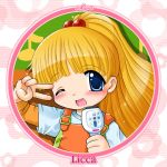 ;d bangs blonde_hair blue_eyes blunt_bangs blush child circle close-up flat_chest flower hair_bobbles hair_ornament karaoke kayama_licca long_hair microphone musical_note open_mouth overalls shiny shiny_hair singing smile solo striped striped_background super_doll_licca-chan t-shirt tokuda_shinnosuke v v_over_eye wink