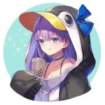 1girl animal_costume animal_hood bare_shoulders blue_eyes blue_ribbon bow bra_strap bubble_tea choker closed_mouth collarbone drinking_straw eyebrows_visible_through_hair fate/grand_order fate_(series) hair_bow hood hoodie licking_lips meltryllis meltryllis_(swimsuit_lancer)_(fate) penguin_costume penguin_hood purple_hair ribbon sleeves_past_wrists smile solo tongue tongue_out upper_body vivi_(eve_no_hakoniwa)