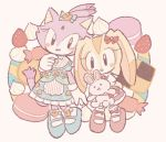2girls :d animal_ears black_eyes blaze_the_cat blue_bow blush_stickers bow buke-baisen bunny_girl bunny_tail cat cat_ears cat_girl cat_tail commentary_request cream_the_rabbit food forehead_jewel fruit gloves hair_bow macaron multiple_girls open_mouth purple_fur rabbit rabbit_ears red_bow simple_background smile sock_bow sonic_the_hedgehog standing strawberry stuffed_animal stuffed_bunny stuffed_toy tail white_gloves yellow_fur
