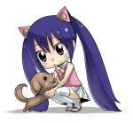 1girl bare_shoulders blue_hair blush brown_eyes chibi dog fairy_tail hair_between_eyes holding_dog long_hair looking_at_animal mashima_hiro official_art sandals shadow simple_background skirt sleeveless smile solo star_(symbol) thigh-highs twintails wendy_marvell white_background white_legwear white_skirt