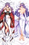 1girl anklet blush breasts camilla_(fire_emblem) commission dakimakura dress elbow_gloves fire_emblem fire_emblem_fates full_body gloves hair_ornament hair_over_one_eye japanese_clothes jewelry large_breasts long_hair looking_at_viewer lying megatama obi on_back parted_lips purple_hair sash shawl side_slit smile tabi tiara very_long_hair violet_eyes wavy_hair wedding_dress white_dress white_gloves wide_sleeves zouri