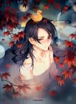 1boy air_bubble autumn_leaves bamboo bangs black_hair blurry blush boots bubble bucket closed_mouth collarbone depth_of_field ear_blush earrings embarrassed fog fountain from_above hair_down hair_over_one_eye highres instocklee jewelry kashuu_kiyomitsu leaf leaf_on_head long_hair looking_at_viewer male_focus maple_leaf mole mole_under_mouth night nose_blush nude object_on_head onsen partially_submerged red_eyes rubber_boots solo stone_lantern touken_ranbu tree_branch upper_body water wet wet_hair wooden_bucket