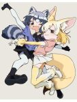 2girls animal_ears arms_around_waist beige_background black_footwear black_skirt blonde_hair brown_eyes common_raccoon_(kemono_friends) fang fennec_(kemono_friends) fox_ears fox_tail grey_hair hug iihoneikotu kemono_friends legs_up looking_at_viewer multiple_girls one_eye_closed open_mouth pink_shirt purple_shirt raccoon_ears raccoon_tail shirt skin_fang skirt smile tail thigh-highs white_skirt white_sleeves