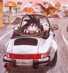 3boys :d :p absurdres bald bear black_eyes black_hair blurry blurry_background bush car commentary convertible dinosaur dragon_ball dragon_ball_(classic) driving expressionless facial_hair facing_away finger_in_mouth floating_hair fungus ground_vehicle happy highres kuririn license_plate looking_afar looking_at_another looking_at_viewer looking_back male_focus messy_hair mirror motion_blur motor_vehicle mountain multiple_boys mustache muten_roushi nature official_art open_mouth outdoors palm_tree porsche pterodactyl rear-view_mirror red-framed_eyewear road shadow smile son_gokuu speed_lines sunglasses tongue tongue_out toriyama_akira tree triceratops tyrannosaurus_rex wristband