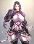 1girl arm_guards bangs bodysuit breasts closed_mouth commentary_request fate/grand_order fate_(series) fingerless_gloves gloves hand_up highres koyama_sousuke large_breasts loincloth long_hair low-tied_long_hair minamoto_no_raikou_(fate/grand_order) parted_bangs purple_bodysuit purple_hair ribbed_sleeves rope standing sword sword_behind_back tabard very_long_hair violet_eyes weapon