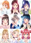 6+girls aqua_eyes black_hair blonde_hair brown_eyes brown_hair commentary_request dark_blue_hair grey_hair highres kunikida_hanamaru kurosawa_dia kurosawa_ruby love_live! love_live!_sunshine!! matsuura_kanan multiple_girls ohara_mari ojyomu orange_hair red_eyes redhead sakurauchi_riko smile takami_chika translation_request tsushima_yoshiko violet_eyes watanabe_you yellow_eyes