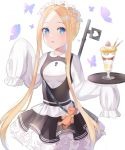 1girl abigail_williams_(fate/grand_order) artist_request bangs black_skirt blonde_hair blue_eyes blush breasts bug butterfly dress fate/grand_order fate_(series) forehead heroic_spirit_festival_outfit highres insect key keyhole layered_skirt long_hair long_sleeves looking_at_viewer maid_headdress open_mouth parfait parted_bangs sash simple_background skirt sleeves_past_fingers sleeves_past_wrists small_breasts stuffed_animal stuffed_toy teddy_bear tray white_dress