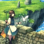 bangs bird black_footwear boots chorefuji cloak clouds day feathers grass hairband holding original pointing rock shiny shiny_hair sky smile solo standing stone_floor stone_wall wall white_bird yellow_hairband