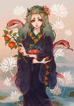 animal aqua_hair aqua_nails blue_lipstick chinese_lantern_(plant) demon_girl demon_horns earrings fingernails fleur-de-lis flower hair_flower hair_ornament hair_pulled_back hairpin highres holding hoozuki_no_reitetsu horns japanese_clothes jewelry kimono lipstick long_hair looking_at_viewer makeup okou_(hoozuki_no_reitetsu) plant short_eyebrows snake standing wide_sleeves yellow_eyes