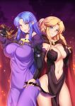 2girls black_gloves blonde_hair blue_eyes blue_hair blush braid breasts cape caster caster_class_(fate/stay_night) closed_mouth commission cowboy_shot dagger dress elbow_gloves fate/stay_night fate_(series) gloves groin holding holding_weapon impossible_clothes impossible_dress large_breasts long_hair looking_at_viewer megatama multiple_girls navel original pelvic_curtain pointy_ears purple_dress revealing_clothes rulebreaker sidelocks smile weapon
