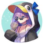 1girl animal_costume animal_hood bare_shoulders blue_eyes blue_ribbon bow bra_strap bubble_tea choker collarbone drinking drinking_straw eyebrows_visible_through_hair fate/grand_order fate_(series) hair_bow hood hoodie meltryllis meltryllis_(swimsuit_lancer)_(fate) penguin_costume penguin_hood purple_hair ribbon sleeves_past_wrists solo sunglasses upper_body vivi_(eve_no_hakoniwa)