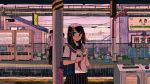 1girl 2boys bag black_skirt blouse bucket clock handkerchief multiple_boys ootani_tooru original outdoors power_lines rain reading red_neckwear school_bag school_uniform skirt solo_focus train_station trash_can umbrella vending_machine white_blouse