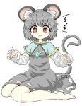1girl animal_ears bangs capelet chups dress eyebrows_visible_through_hair grey_dress grey_hair highres jewelry long_sleeves looking_at_viewer medium_hair mouse_ears mouse_tail nazrin red_eyes simple_background solo tail touhou white_background white_sleeves