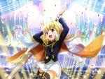 blonde_hair cape dress otori_michiru red_eyes short_hair shoujo_kageki_revue_starlight sword wink