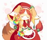 1girl animal_ears bare_shoulders blush brown_fur brown_hair chantico_(fullbokko_heroes) closed_eyes commentary_request cowboy_shot dog dog_ears dog_girl fullbokko_heroes furry headwear long_hair meme neru_(neruneruru) pawpads simple_background smug solo two-tone_fur white_background white_fur
