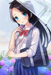 1girl bag black_hair blue_eyes blue_flower blue_skirt blush bow bowtie cellphone collared_shirt commentary_request flower hachinatsu highres holding holding_phone holding_umbrella hydrangea long_hair looking_at_viewer no_bangs open_mouth original outdoors parted_hair phone pink_flower pleated_skirt rain red_neckwear school_bag school_uniform shirt skirt smartphone smile solo striped striped_neckwear transparent transparent_umbrella umbrella white_shirt