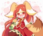 1girl :3 :d animal_ears blush bottle brown_fur brown_hair chantico_(fullbokko_heroes) commentary_request cowboy_shot dango dog dog_ears dog_girl drooling drunk food fullbokko_heroes furry holding holding_bottle holding_food long_hair long_sleeves neru_(neruneruru) no_hat no_headwear open_mouth red_eyes saliva simple_background smile solo two-tone_fur wagashi white_background white_fur