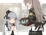 2girls alternate_costume arm_behind_back bangs black_cat cake cat closed_eyes commentary_request english_text eyebrows_visible_through_hair facial_mark food girls_frontline grey_hair hair_ornament hairband hands_clasped hat highres hk416_(girls_frontline) long_hair long_sleeves mechanical_arm mini_hat mod3_(girls_frontline) multiple_girls open_mouth outline own_hands_together photo-referenced scar scar_across_eye sidelocks tianliang_duohe_fangdongye ump45_(girls_frontline) white_outline younger