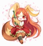 1girl :3 :d ;d animal_ears black_legwear blush bottle brown_fur brown_hair chantico_(fullbokko_heroes) commentary_request dog dog_ears dog_girl dog_tail eyebrows_visible_through_hair full_body fullbokko_heroes furry heart holding holding_bottle kneehighs long_hair long_sleeves looking_at_viewer neru_(neruneruru) no_hat no_headwear one_eye_closed open_mouth red_eyes simple_background smile solo standing tail two-tone_fur white_background white_fur